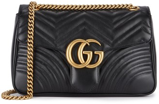Gucci GG Marmont Medium Black Leather Shoulder Bag