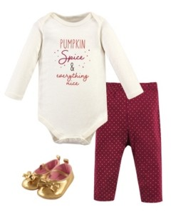 Hudson Baby Baby Girls and Boys Pumpkin Spice Bodysuit, Pant and Shoe Set, Pack of 3