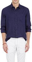 Vilebrequin Men's Solid Slub-Weave Shirt-NAVY