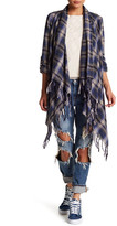Billabong Liv It Up Plaid Sharkbite Fringe Cardigan