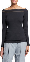 Brunello Cucinelli Off-the-Shoulder Ribbed Cotton Top w/ Monili Tulle Detail
