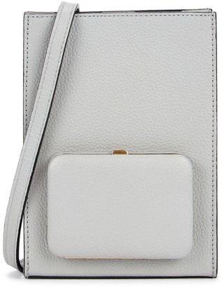 Lutz Morris Parker Book grey grained leather cross-body bag