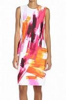 Calvin Klein White Pink Women Size 6 Watercolor Print Sheath Dress