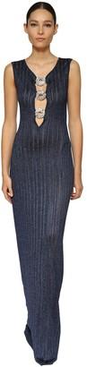 Azzaro Lurex Knit Long Dress W/ Crystal Buckles
