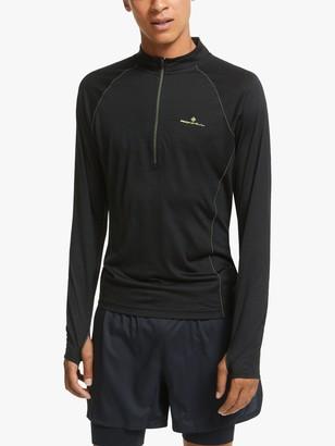 Ronhill Tech Merino 1/2 Zip Long Sleeve Running Top, Black/Fluo Yellow