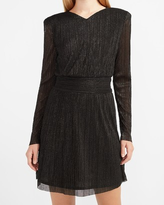 Express Metallic Pleated Padded Shoulder Dress