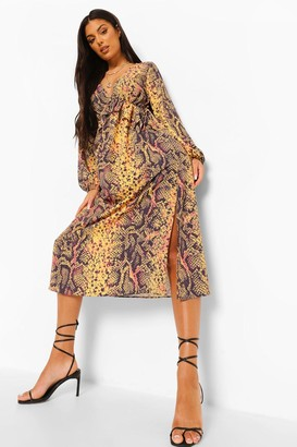 boohoo Snake Print V Neck Frill Detail Maxi Dress