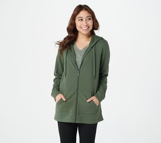 Denim & Co. Active French Terry Hooded Tunic with Side Slits