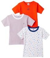 Petit Bateau Set of 3 boys plain/striped/printed t-shirts