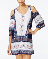 Speechless Juniors' Printed Cold-Shoulder Shift Dress