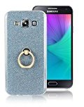 Moonmini Samsung Galaxy E7. Case Cover Sparkling Slim Fit Soft TPU Back Case Cover with Ring Grip Stand Holder 2 in 1 Hybrid Glitter Bling Bling TPU phone Case Cover (Blue)