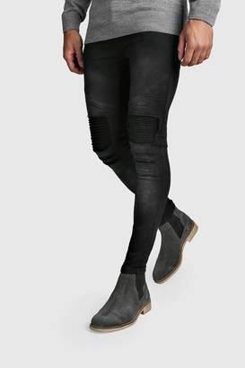 BoohoomanBoohooMAN Mens Grey Washed Slim Fit Biker Jeans, Grey