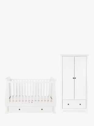 Silver Cross Nostalgia Sleigh Cotbed and Wardrobe, White