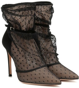 Gianvito Rossi Polka-dot lace ankle boots