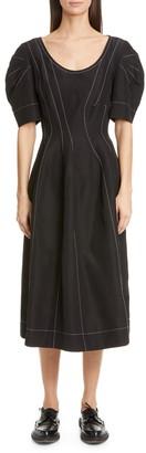 Marni Contrast Stitch Puff Sleeve Midi Dress
