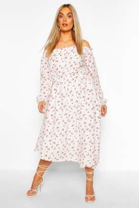 boohoo Plus Floral Bardot Asymmetric Midi Dress