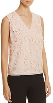 T Tahari Harla Embroidered Floral Applique Top