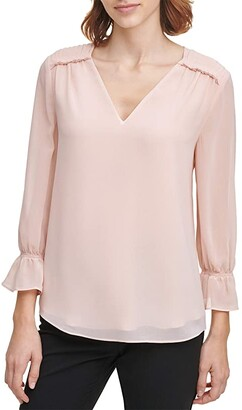 Calvin Klein Long Sleeve Blouse with V-Neck and Pleated Detail (Blush) Women's Clothing