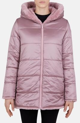 Save The Duck Waterproof Reversible Hooded Faux Fur Coat