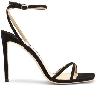 Jimmy Choo Metz 100 Ankle-strap Suede Sandals - Black