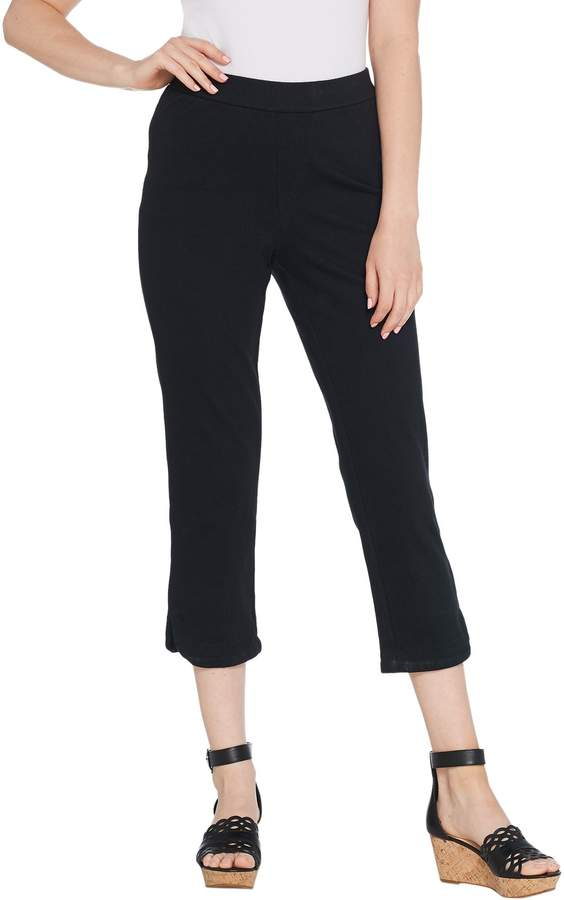 Isaac Mizrahi Live! Petite Knit Denim Pull-On Capri Jeans
