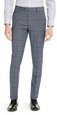 Calvin Klein Men's Skinny-Fit Gray/Blue Plaid Suit Pants