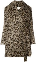 MICHAEL Michael Kors belted leopard print coat - women - Acrylic/Nylon/Polyester/Wool - L