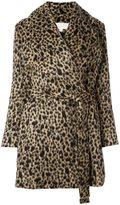 MICHAEL Michael Kors belted leopard print coat - women - Acrylic/Polyester/Nylon/Spandex/Elastane - L