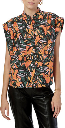 Joie Unna Button-Front Floral Silk Shirt