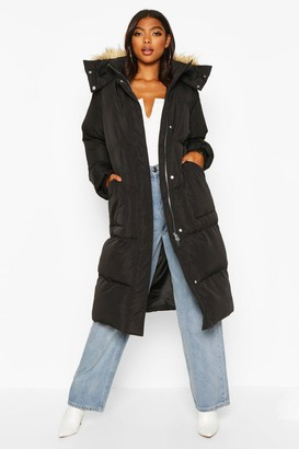 boohoo Tall Faux Fur Hood Longline Padded Coat