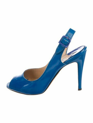 Manolo Blahnik Patent Leather Slingback Sandals Blue