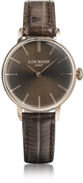 Locman 1960 Rose Gold PVD Stainless Steel Women's Watch w/Brown Croco Embossed Leather Strap