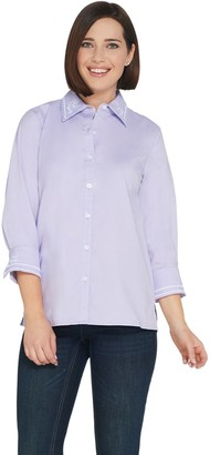 Bob Mackie Embroidered Woven Poplin Shirt with Cuff Sleeves