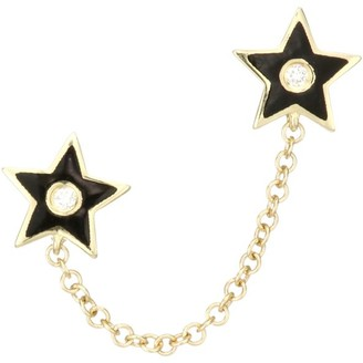 Ef Collection 14K Yellow Gold, Diamond & Enamel Star Double Chain Stud Earring