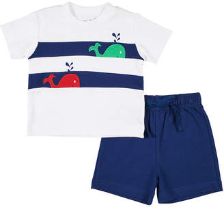 Florence Eiseman Whale T-Shirt w/ Solid Shorts, Size 12-24 Months