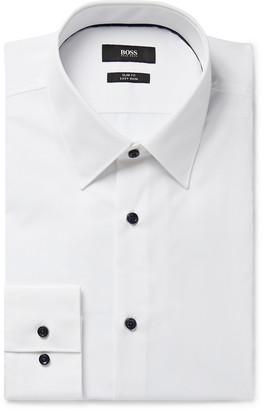 HUGO BOSS White Jano Slim-Fit Cotton-Poplin Shirt