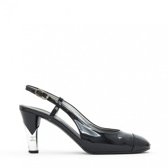 Chanel Slingback Black Patent leather Heels