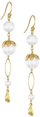 Chan Luu 18K Goldplated Sterling Silver & 4-10.5MM Pearl Linear Earrings