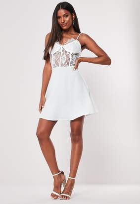 Missguided White Lace Bust Cup Skater Dress