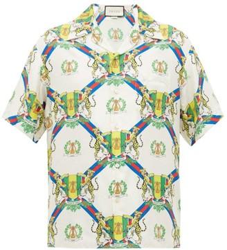 Gucci Crest-print Cuban-collar Silk Shirt - Mens - White Multi