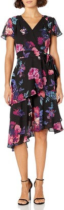 Tahari ASL Women's Petite Tiered Dress with Flutter Sleeves