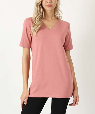 Ash Zenana Women's Tee Shirts  Rose V-Neck Tee - Women