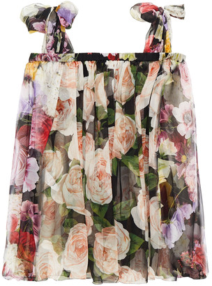 Dolce & Gabbana Cold-shoulder Pleated Floral-print Silk-chiffon Blouse