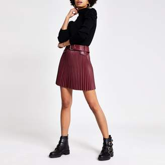 River Island Womens Red faux leather pleated mini skirt