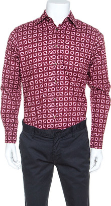 Etro Red Printed Cotton Long Sleeve Button Front Shirt M
