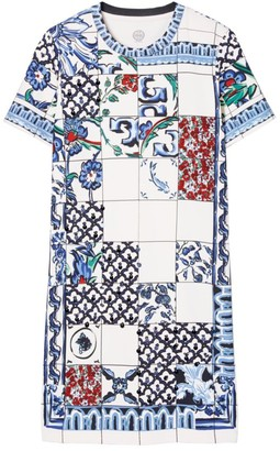 Tory Burch Sequin-Embellished Tile Mosaic T-Shirt Dress