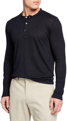 Neiman Marcus Il Borgo for Men's Linen-Blend Henley Shirt