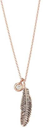 Kismet By Milka Diamond & 14K Rose Gold Mini Raven Feather Necklace