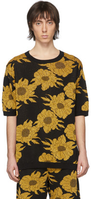Dries Van Noten Black and Gold Floral Knit T-Shirt