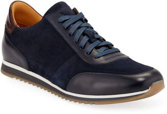 Magnanni Men's Ronnie Mixed Leather Trainer Sneakers
